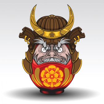 Daruma dall hat einen samurai warrior armor