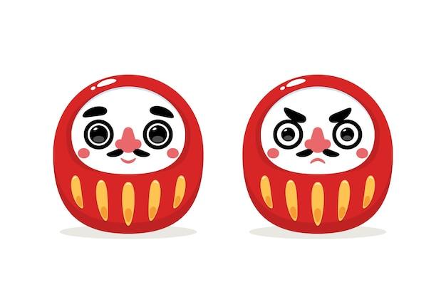 Daruma-puppe. japanische puppe. isolierte vektorillustration