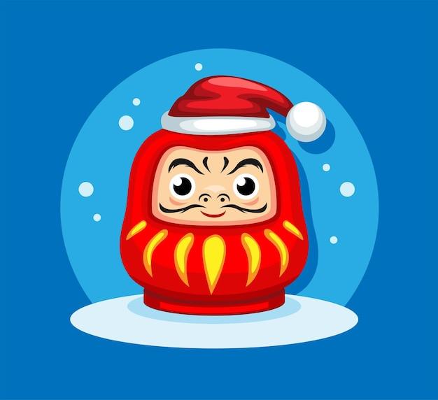Daruma-puppe trägt weihnachtsmütze auf weihnachtszeitkarikatur-illustrationsvektor