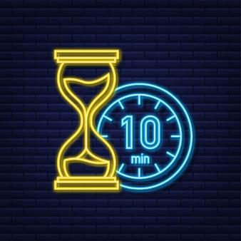 Das 10-minuten-stoppuhr-vektor-neon-symbol stoppuhr-symbol im flachen stil