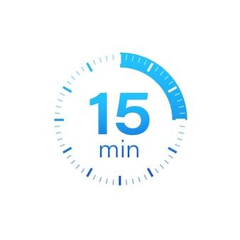 Das 15-minuten-stoppuhr-vektorsymbol