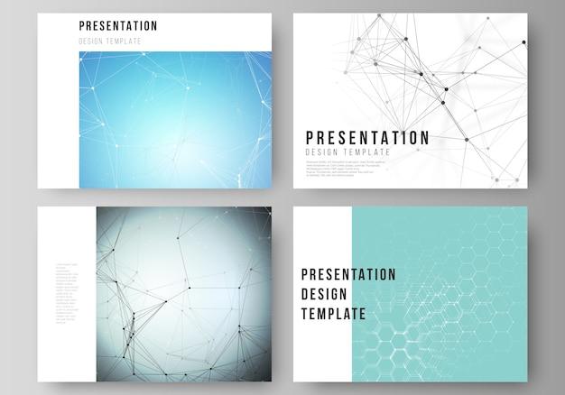 Das abstrakte layout der präsentation zeigt geschäftsvorlagen