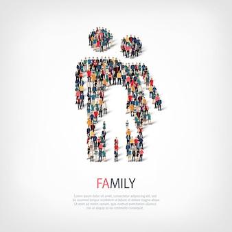 Das abstrakte symbol des isometrischen satzes von stilen ein familienwebinfografikenkonzept eines überfüllten quadrats