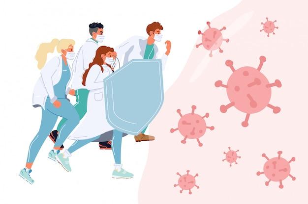 Das ärzteteam kämpft gemeinsam gegen viren und spiegelt den angriff wider