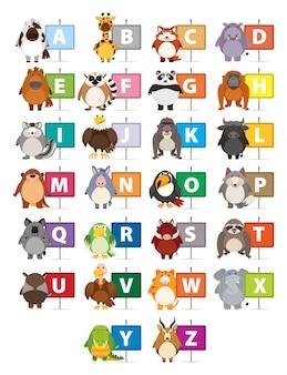 Das alphabet mit verschiedenen tieren