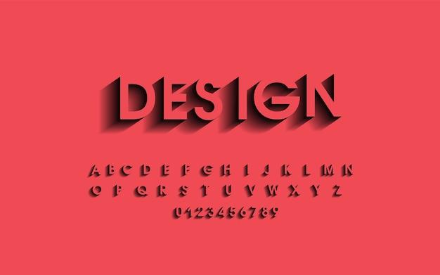 Das alphabet und die zahlen. schatten alphabet design, schrift.