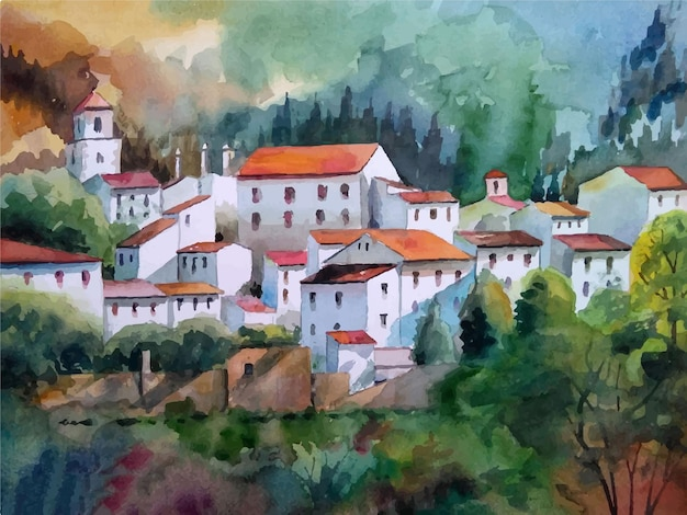 Das alte aquarellschloss in der illustration des berges
