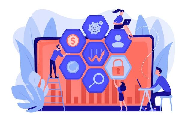 Das analystenteam für cybersicherheitsrisiken reduziert risiken. cybersicherheitsmanagement, cybersicherheitsrisiko, managementstrategiekonzept
