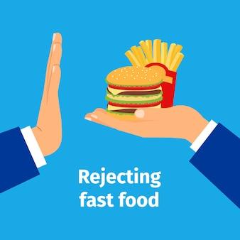 Das angebotene fast food ablehnen
