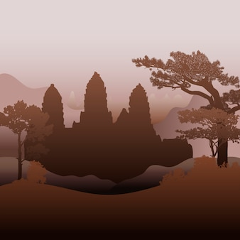 Das angkor wat tempelschattenbild-vektordesign