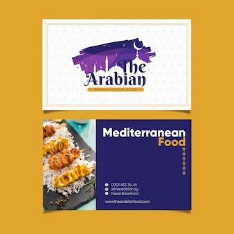 Das arabische restaurant mit horizontaler visitenkarte des köstlichen essens
