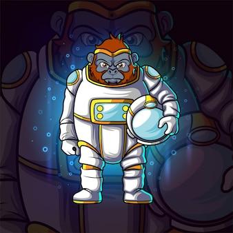 Das astronautengorilla-esport-maskottchendesign der illustration