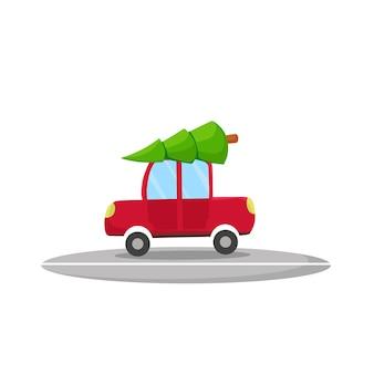 Das auto transportiert einen weihnachtsbaum. vektor-cartoon-illustration