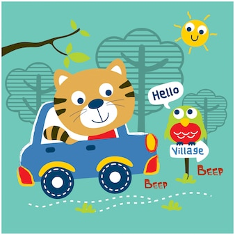 Das autofahren der katze gehen zum lustigen tier-cartoon des dorfs