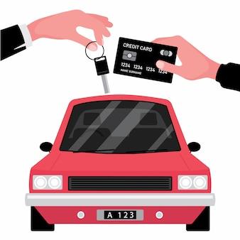 Das autovermietungsgeschäft gibt einer hand den schlüssel zu einer anderen mit kreditkarte vor dem roten fahrzeug