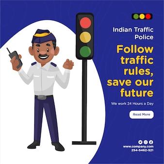 Das banner-design der indischen verkehrspolizei folgt den verkehrsregeln und rettet unsere zukunft