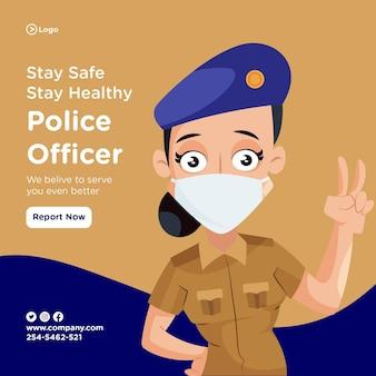 Das banner-design eines polizisten gibt jeden tag unser bestes
