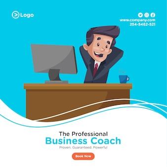 Das banner-design eines professionellen business-trainers sitzt in einer entspannten stimmung.