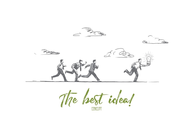 Das beste ideenkonzept. hand gezeichnete leute, die mit leuchtender glühbirne laufen. geschäftsmann macht eine große lösung isolierte illustration.