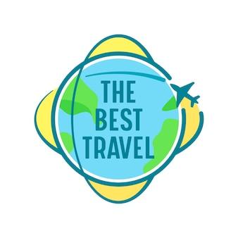 Das beste reisesymbol mit dem flugzeug, das über die erdkugel fliegt. label oder emblem für reisebüro-service oder handy-anwendung, isolated on white background. cartoon-vektor-illustration