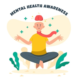 Das bewusstsein für psychische gesundheit entspannt sich und meditiert