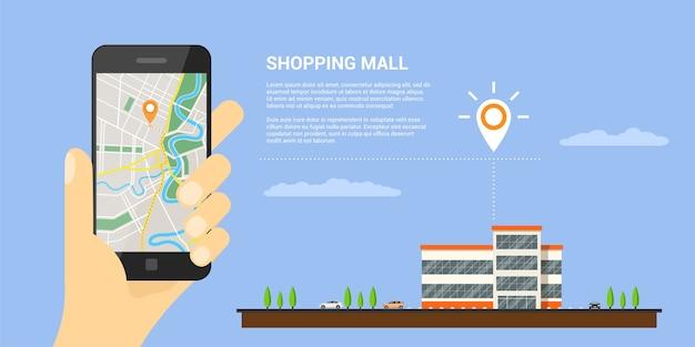 Das bild einer menschlichen hand, die das mobiltelefon mit karte und gps-zeiger auf hält, ist bildschirm, mobile karten und gps-positionierungskonzept