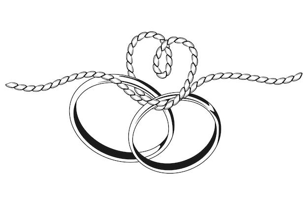 Das binden des knotens, der schwarze silhouette mit zwei ringen und einem seil lokalisiert auf einem weißen hintergrund heiratet