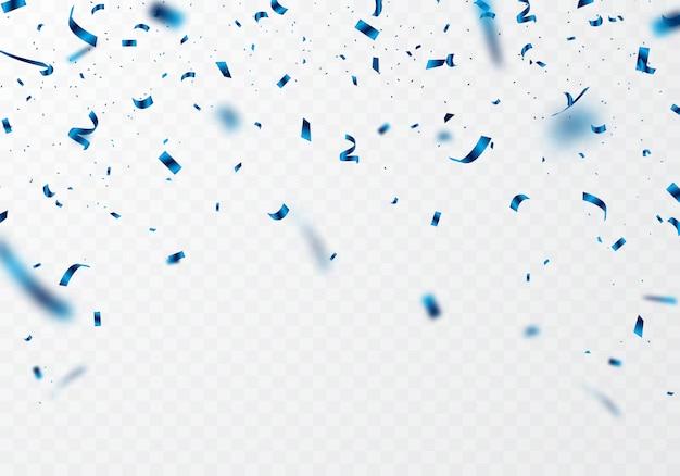 Das blaue band und die konfetti können zum dekorieren verschiedener festivals von einem transparenten hintergrund getrennt werden.