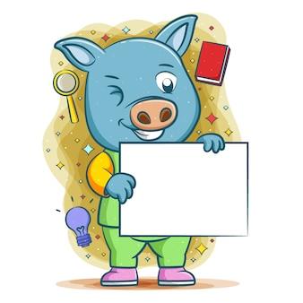 Das blaue schwein macht analyse und hält weiße leere tafel