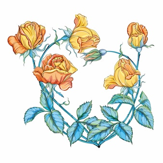Das blumenherz. gelbe rose. romantisch. blumenarrangement.