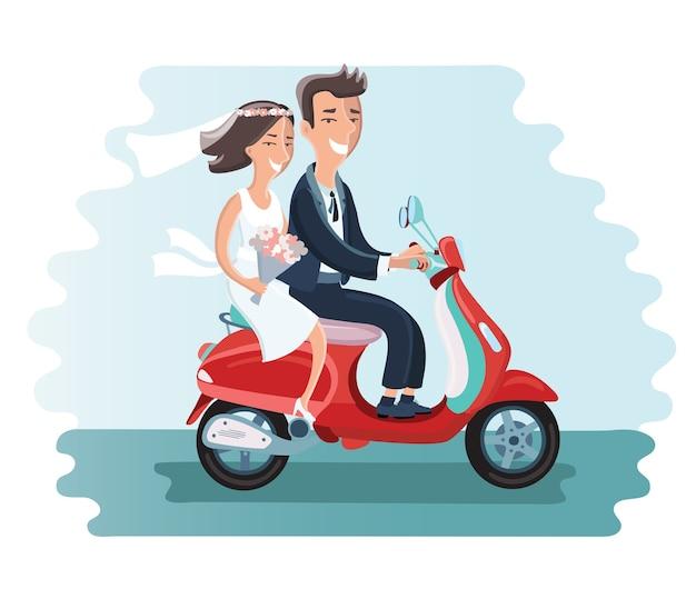 Das brautpaar fährt mit einem moped