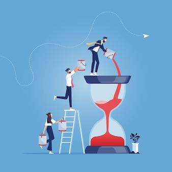 Das business-team gießt zusätzlichen zeitsand in das hourglass-time-management-konzept