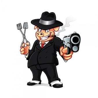 Das cartoon-schwein gangster stellte die waffe, während es grillgrills hielt und eine zigarre rauchte