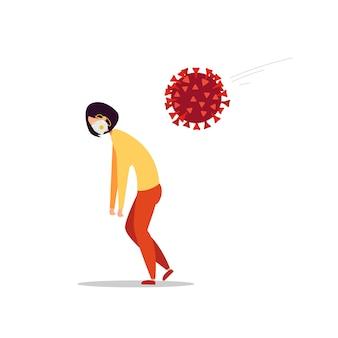 Das coronavirus-molekül greift eine müde frau in einer medizinischen maske an.