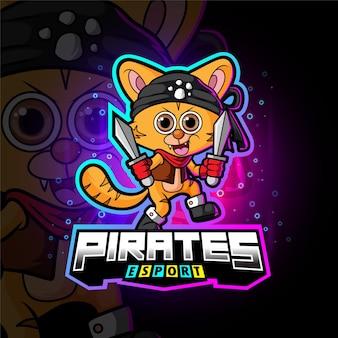 Das crew-piraten-cat-esport-logo-design der illustration