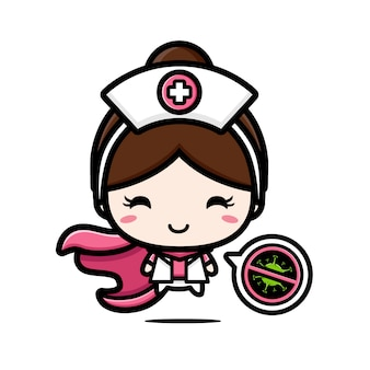 Das design der krankenschwester ist ein held mit einem stop-virus-symbol