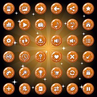 Das design der schaltflächen und symbole für das spiel oder das webthema ist dunkelorange.