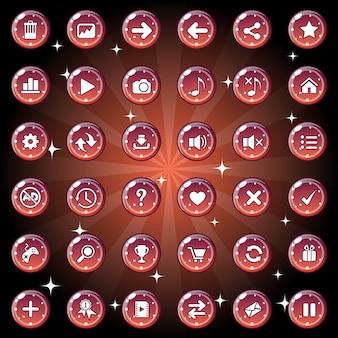 Das design der schaltflächen und symbole für das spiel oder das webthema ist dunkelrot.