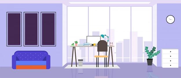 Das design eines arbeitsplatzes, eines modernen büros, eines kreativen büroarbeitsbereichs mit großen fenstern, innenmöbelillustration im flachen design, website-banner