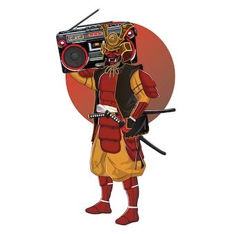 Das design eines samurai brachte eine boombox