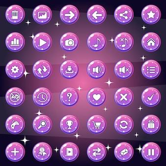 Das design von schaltflächen und symbolen für spiel oder web ist eine verlaufsfarbe.