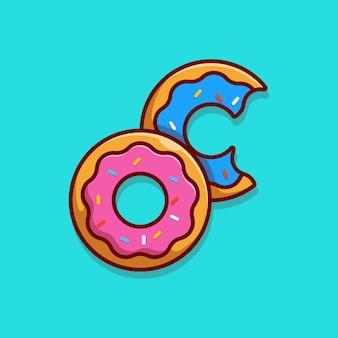 Das donuts-illustrationsdesign mit erdbeermarmelade-topping und bunten streuseln