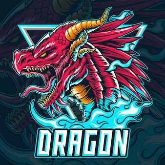 Das drachen-e-sport-logo oder maskottchen und symbol