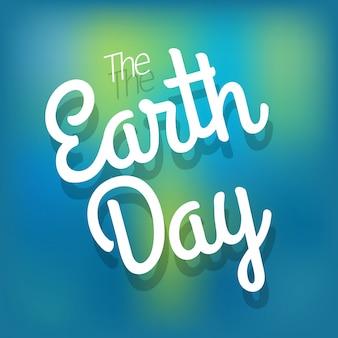 Das earth day-konzept. vektor-logo auf blured hintergrund