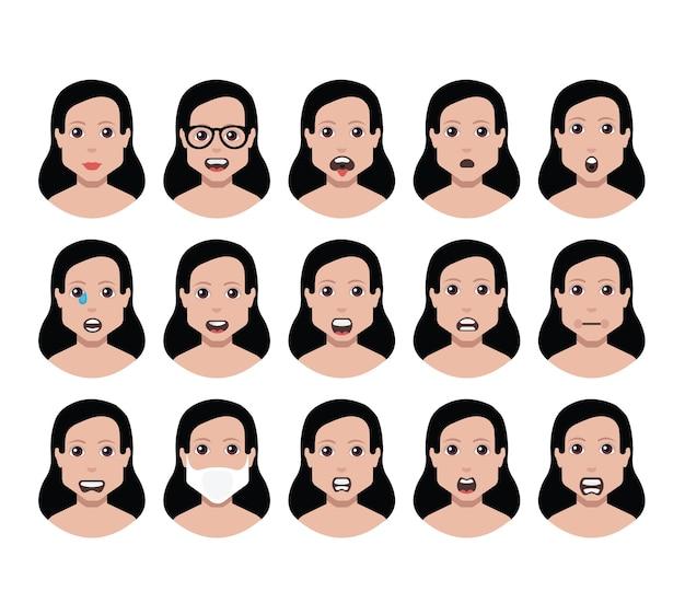 Das eingestellte avatar-profil der menschen zeigt verschiedene gesichter (verwendung für soziale netzwerke).