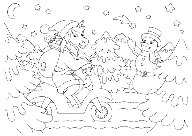 Das einhorn fährt ein moped und trägt geschenke malbuchseite für kinder weihnachtsthema