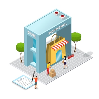 Das einkaufszentrum gebäude und verbraucherkonzept. ladenbau. isometrie und 3d-design. ladenmodell mit einkäufen und waren.