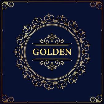 Das elegante schnörkel-design der weinlese-monogramm-logo gedeiht. klassische kalligraphie