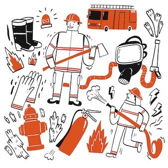 Das element hand gezeichnet von der brandbekämpfung