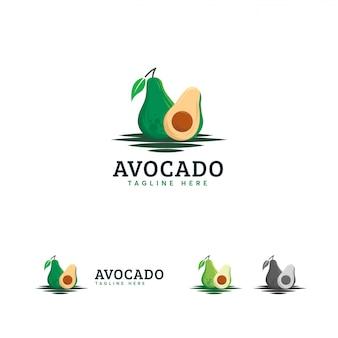 Das emblem des avocado-logos, frische avocadofrüchte